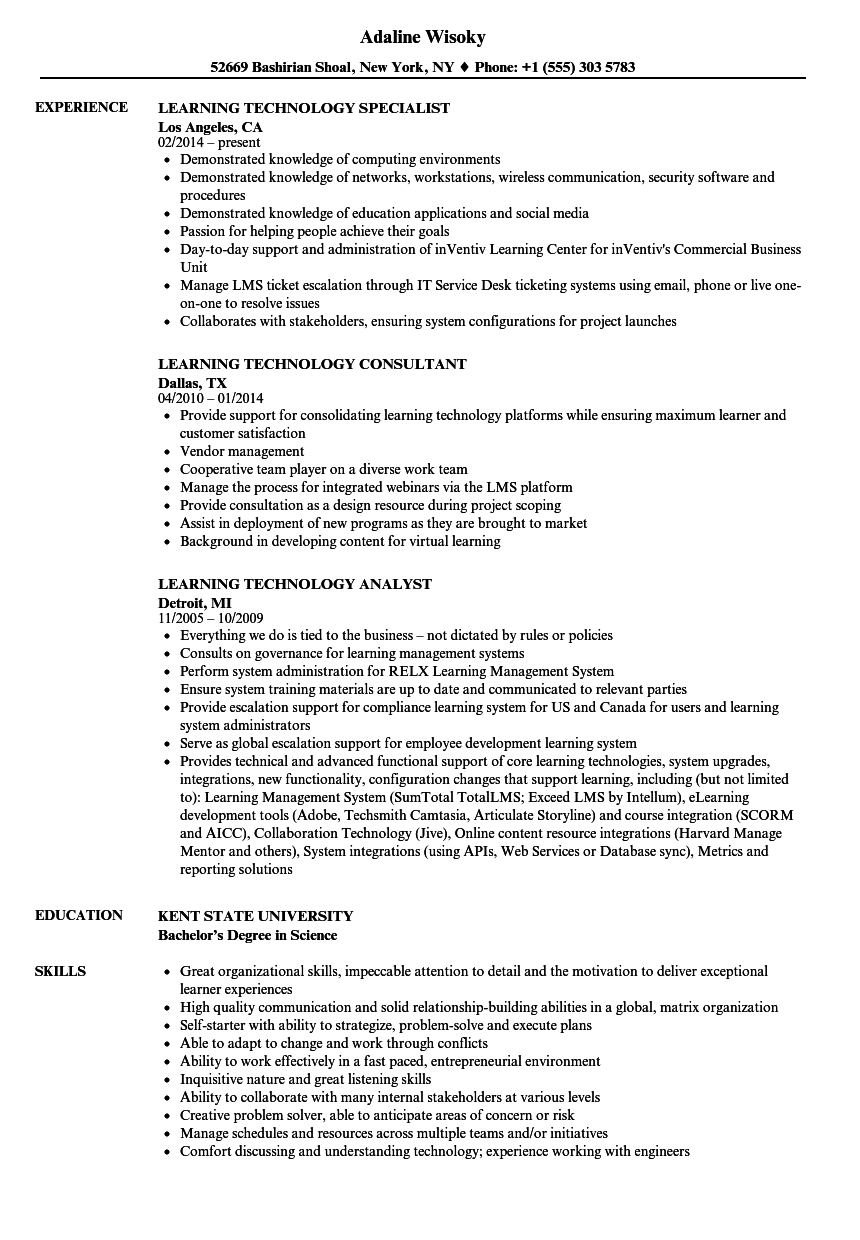 learning technology resume samples