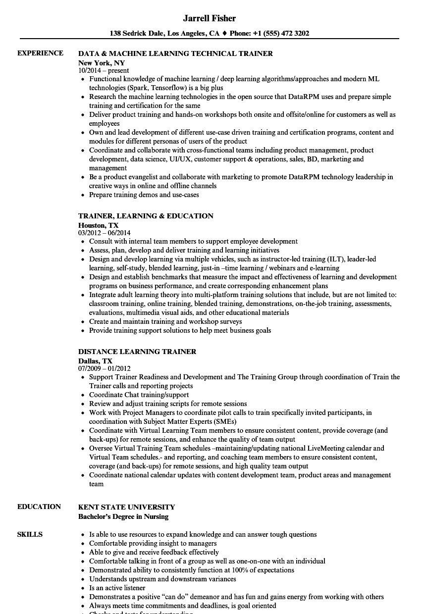 download learning trainer resume sample as image file