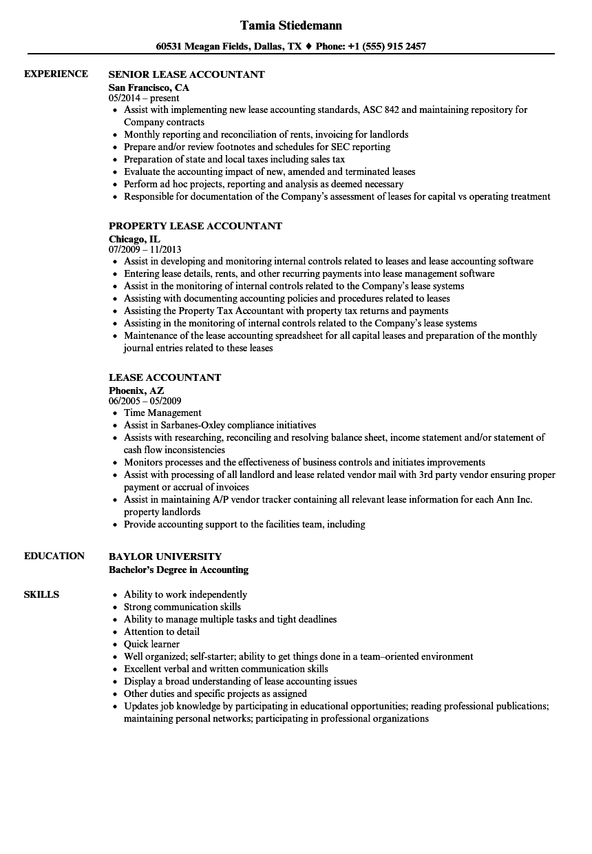 Lease Accountant Resume Samples | Velvet Jobs