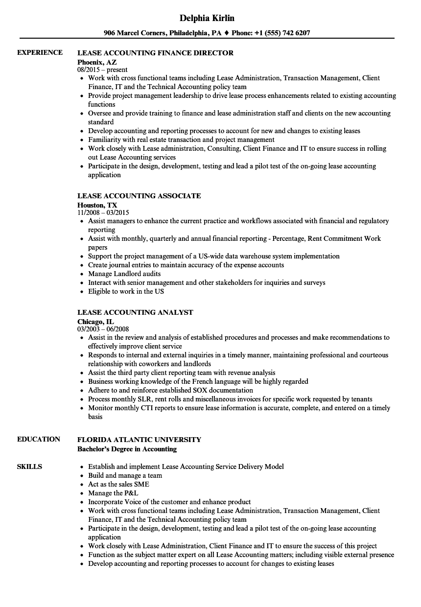 Lease Accounting Resume Samples | Velvet Jobs