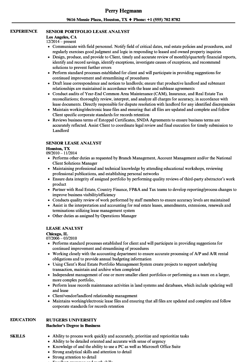 lease analyst resume samples