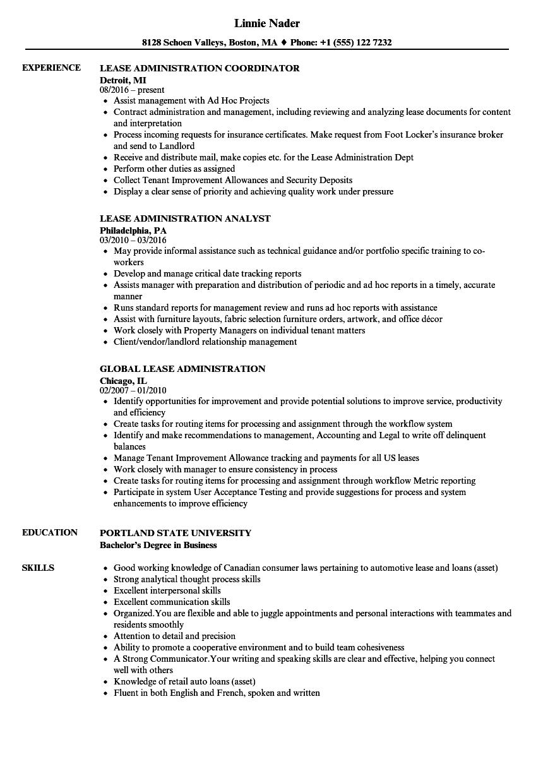 lease resume samples