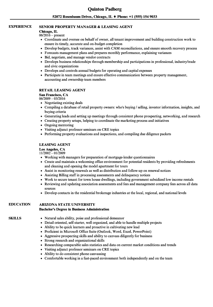 sample leasing agent resumes