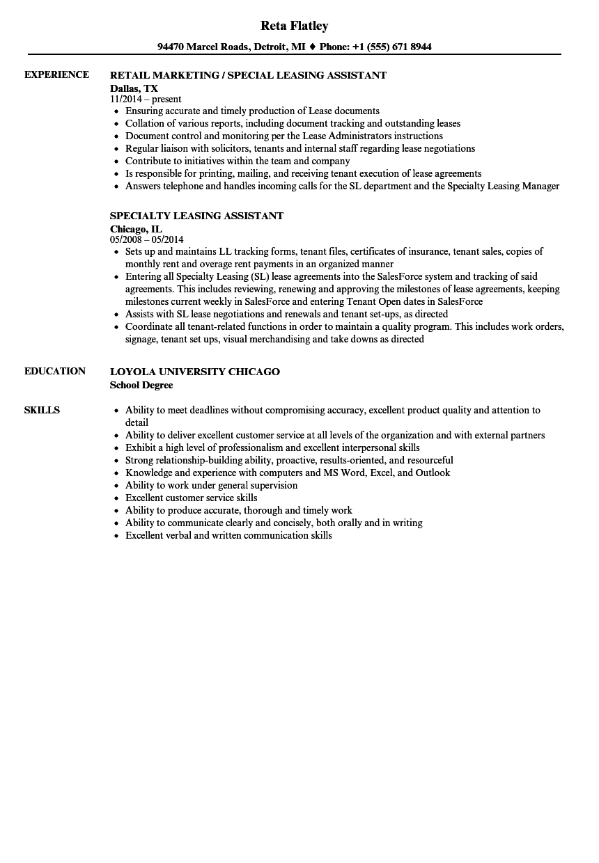 leasing assistant resume samples
