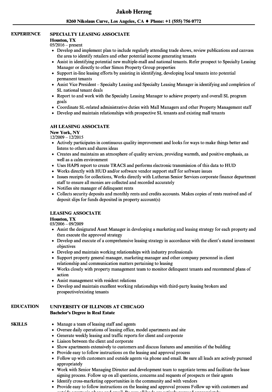 Leasing Associate Resume Samples