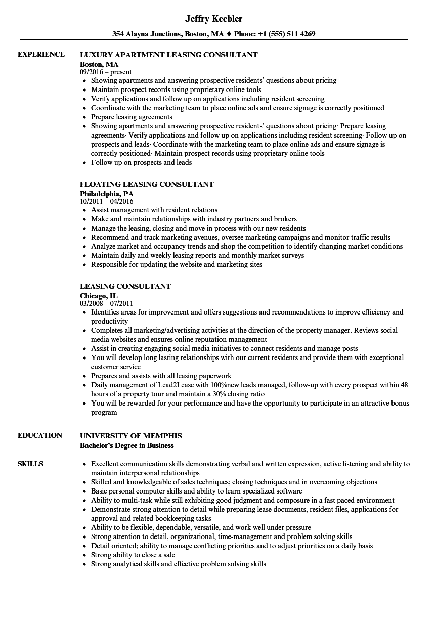 Leasing Consultant Resume Samples | Velvet Jobs