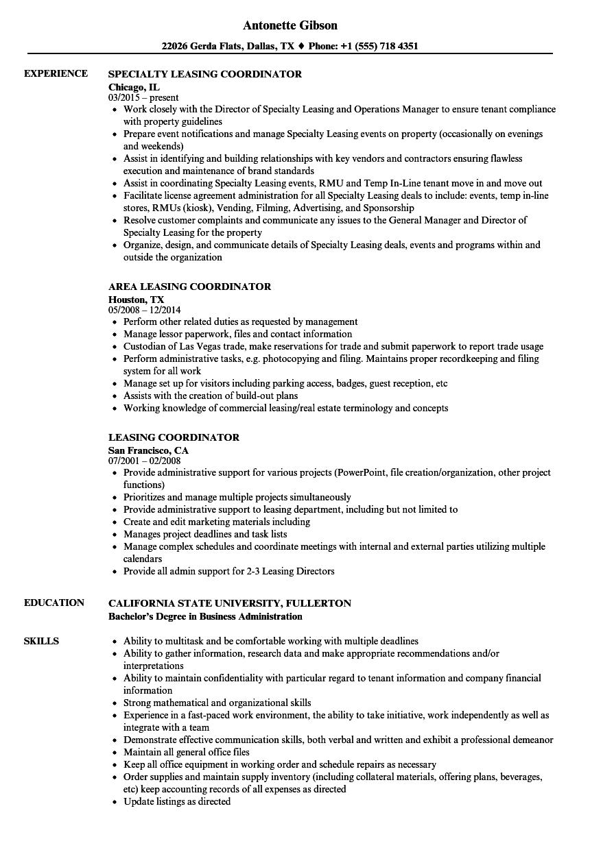 leasing coordinator resume samples
