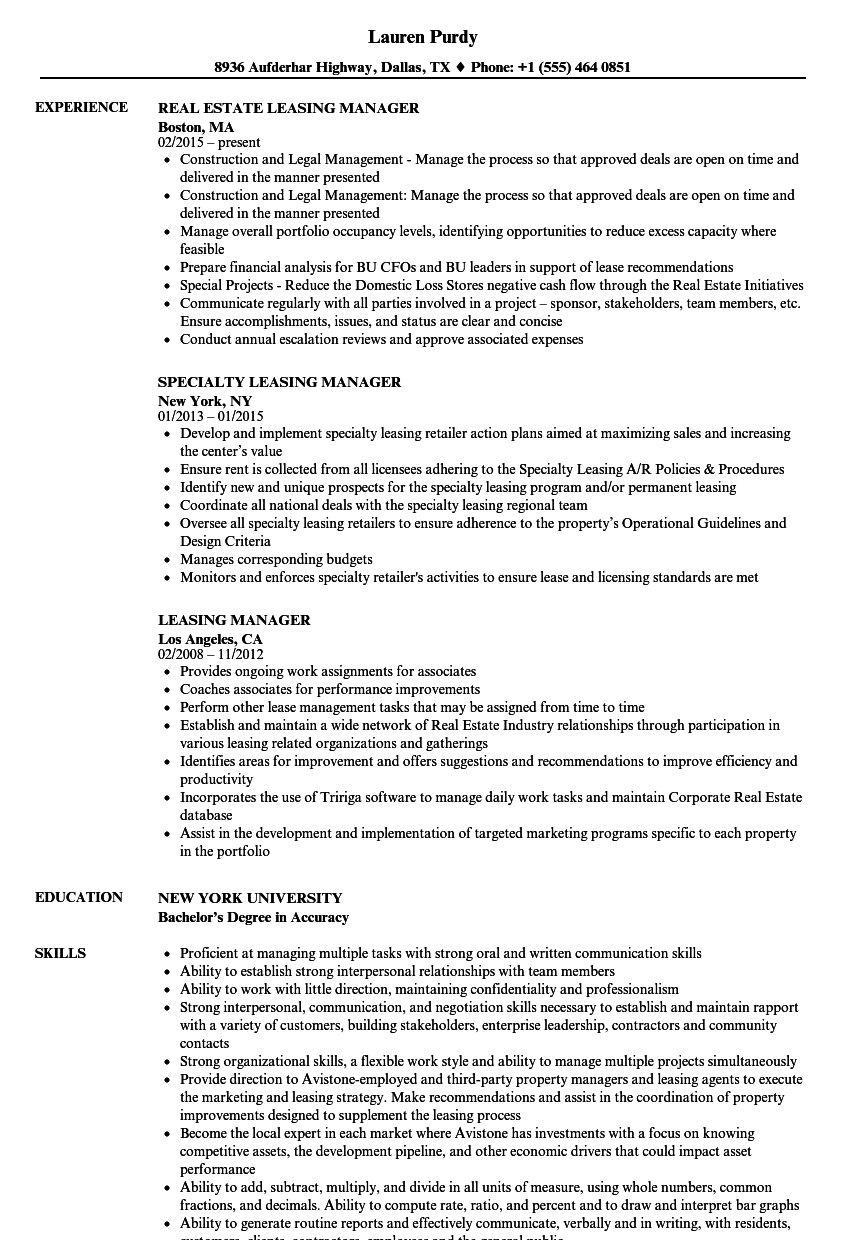 download leasing manager resume sample as image file - Leasing Manager Resume
