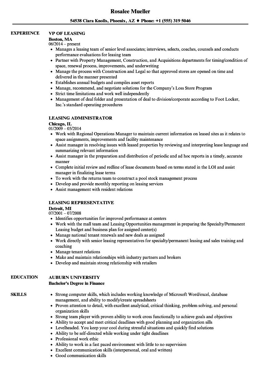 Leasing Resume Samples Velvet Jobs