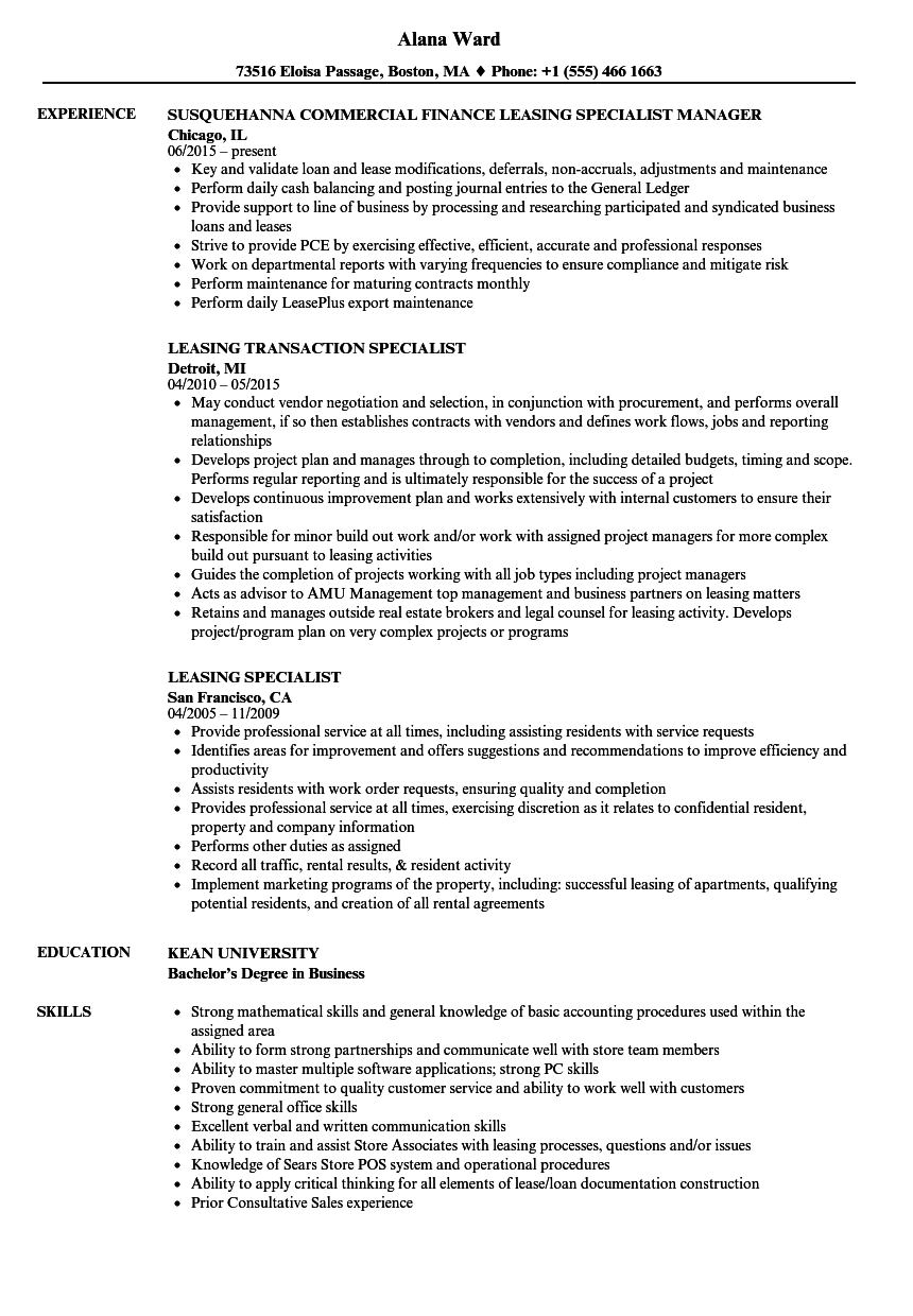 Leasing Specialist Resume Samples | Velvet Jobs