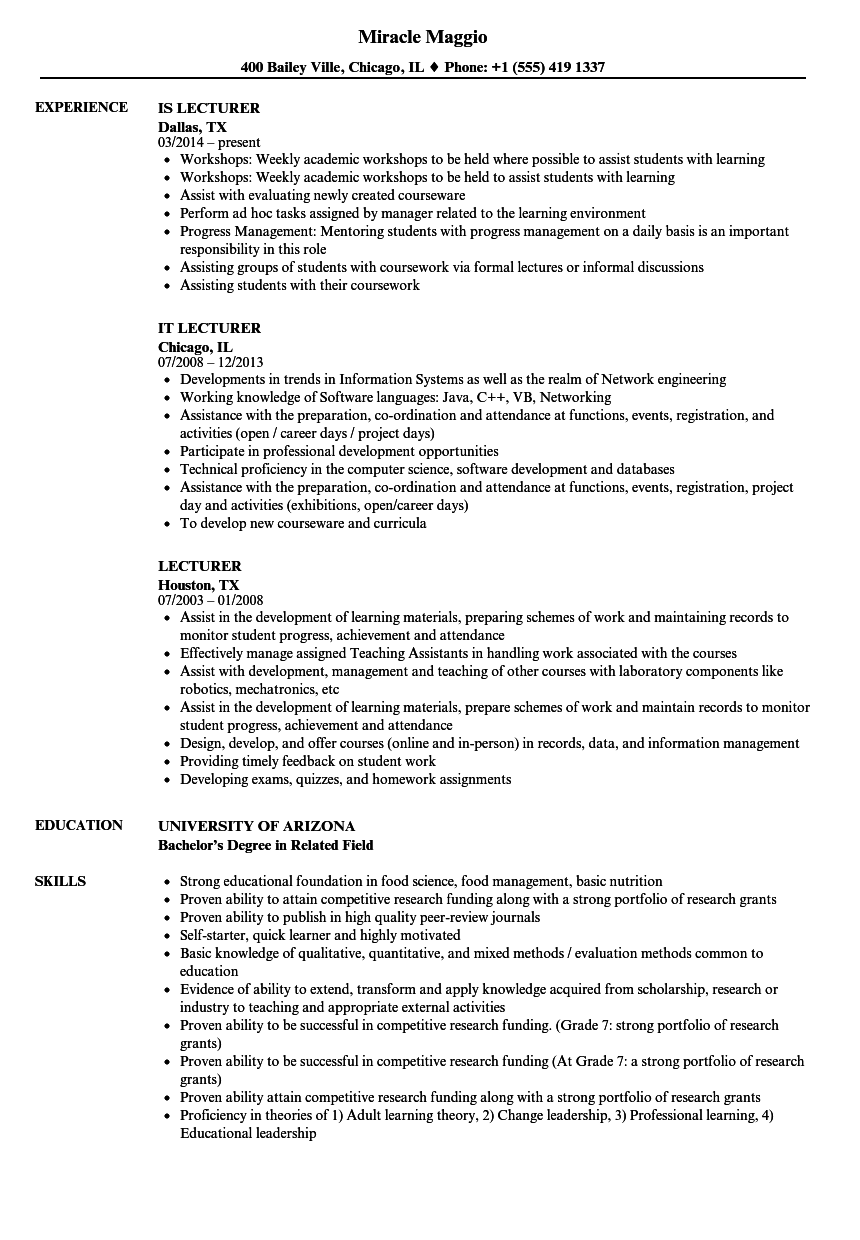 Lecturer Resume Samples | Velvet Jobs