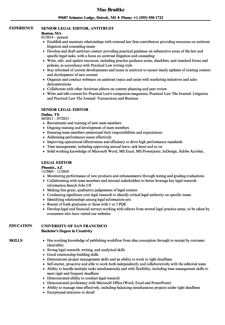 Legal Editor Resume Samples Velvet Jobs