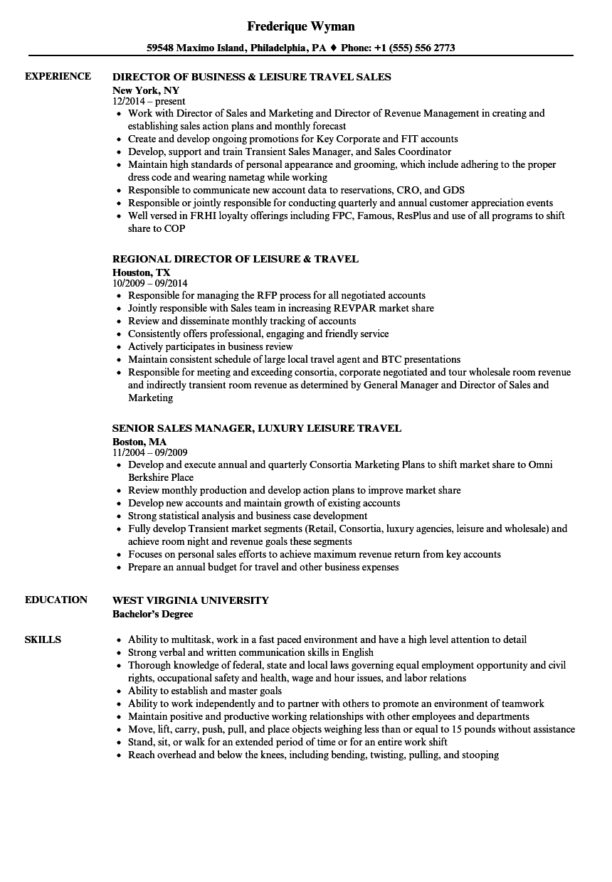 leisure travel resume samples