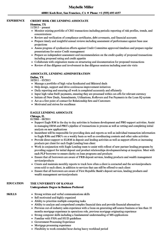 lending associate resume samples