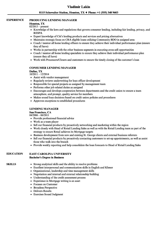 Lending Manager Resume Samples | Velvet Jobs