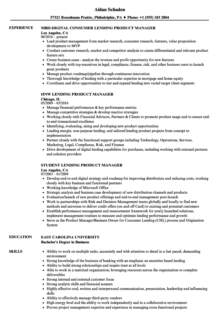 Lending Product Manager Resume Samples Velvet Jobs