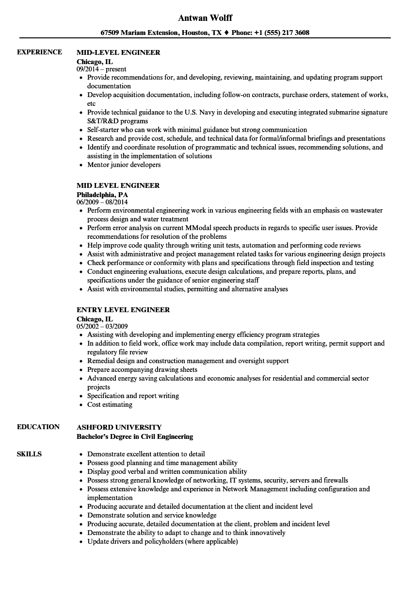 level engineer resume samples