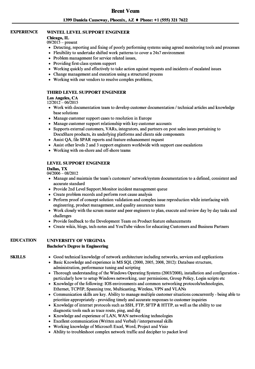 Level Support Engineer Resume Samples Velvet Jobs