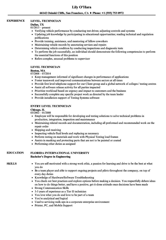 level  technician resume samples