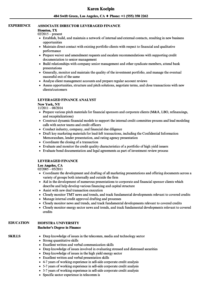 Leveraged Finance Resume Samples | Velvet Jobs