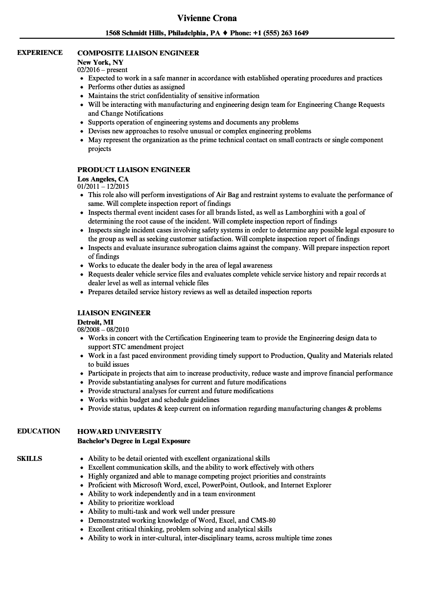 Liaison Engineer Resume Samples | Velvet Jobs