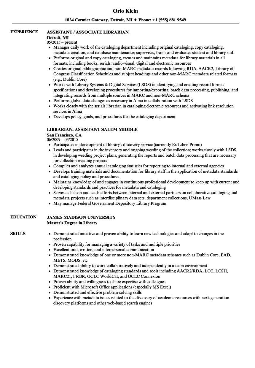 Librarian Assistant Resume Samples | Velvet Jobs