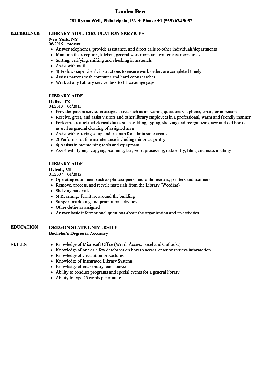 download library aide resume sample as image file - Library Resume Sample