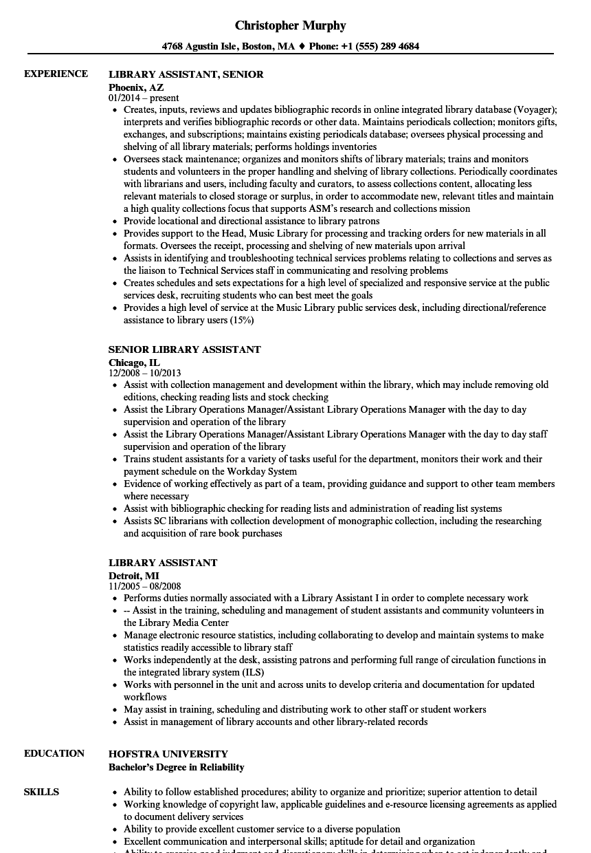Library Assistant Resume Samples | Velvet Jobs
