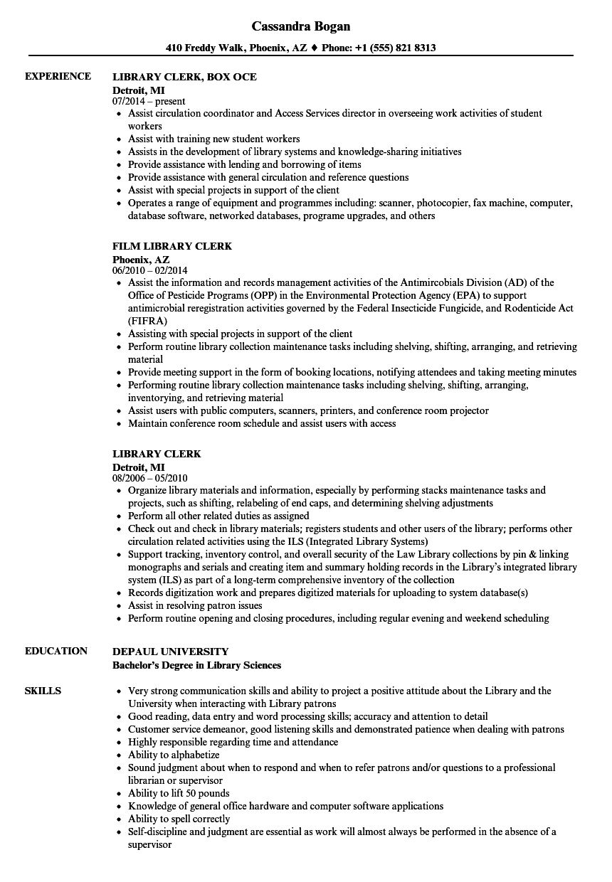 download library clerk resume sample as image file - Library Science Resume Template
