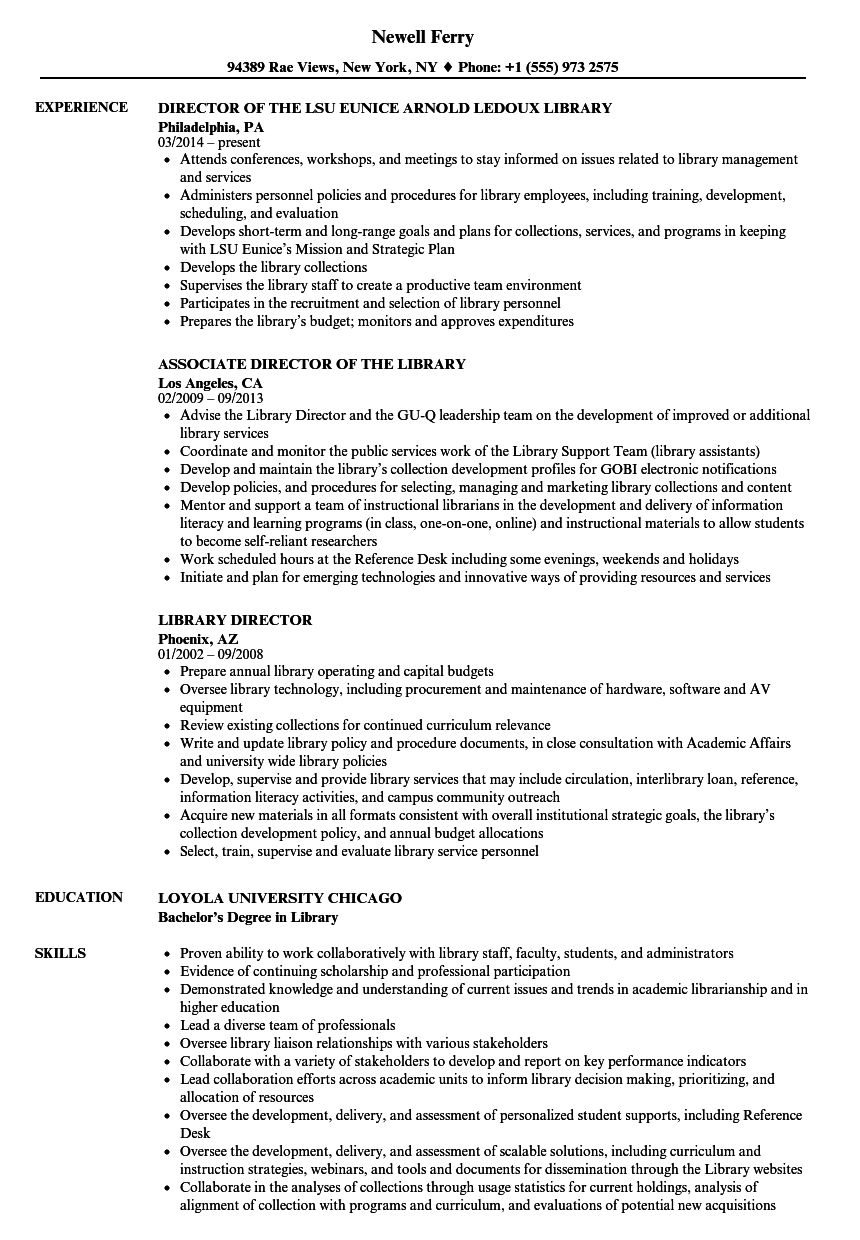 library director resume samples