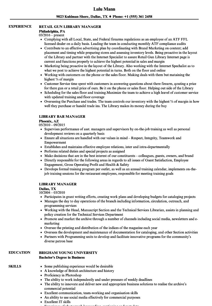Library Manager Resume Samples Velvet Jobs