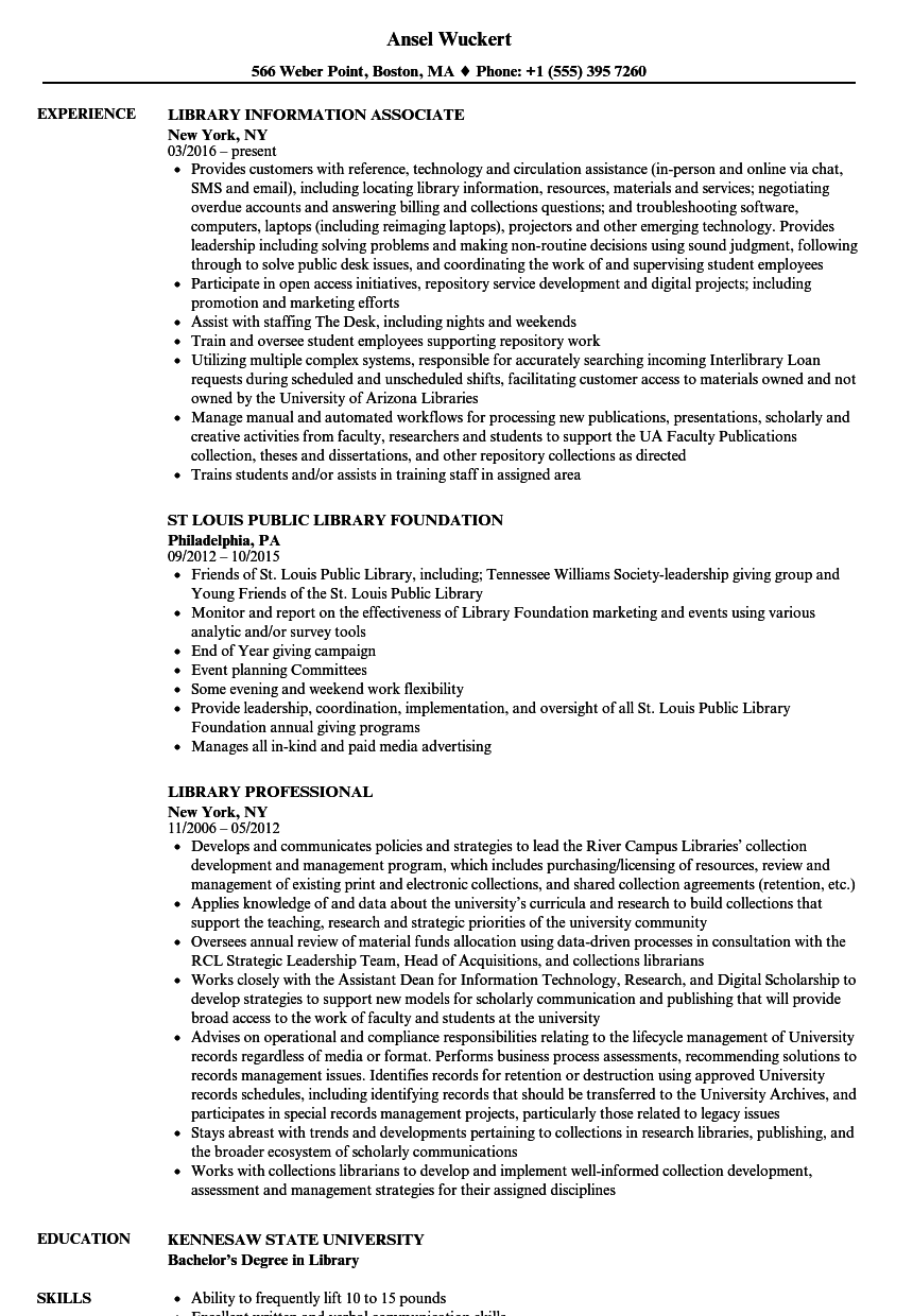Library Resume Samples Velvet Jobs