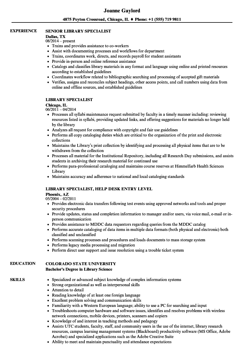 download library specialist resume sample as image file - Library Science Resume Template
