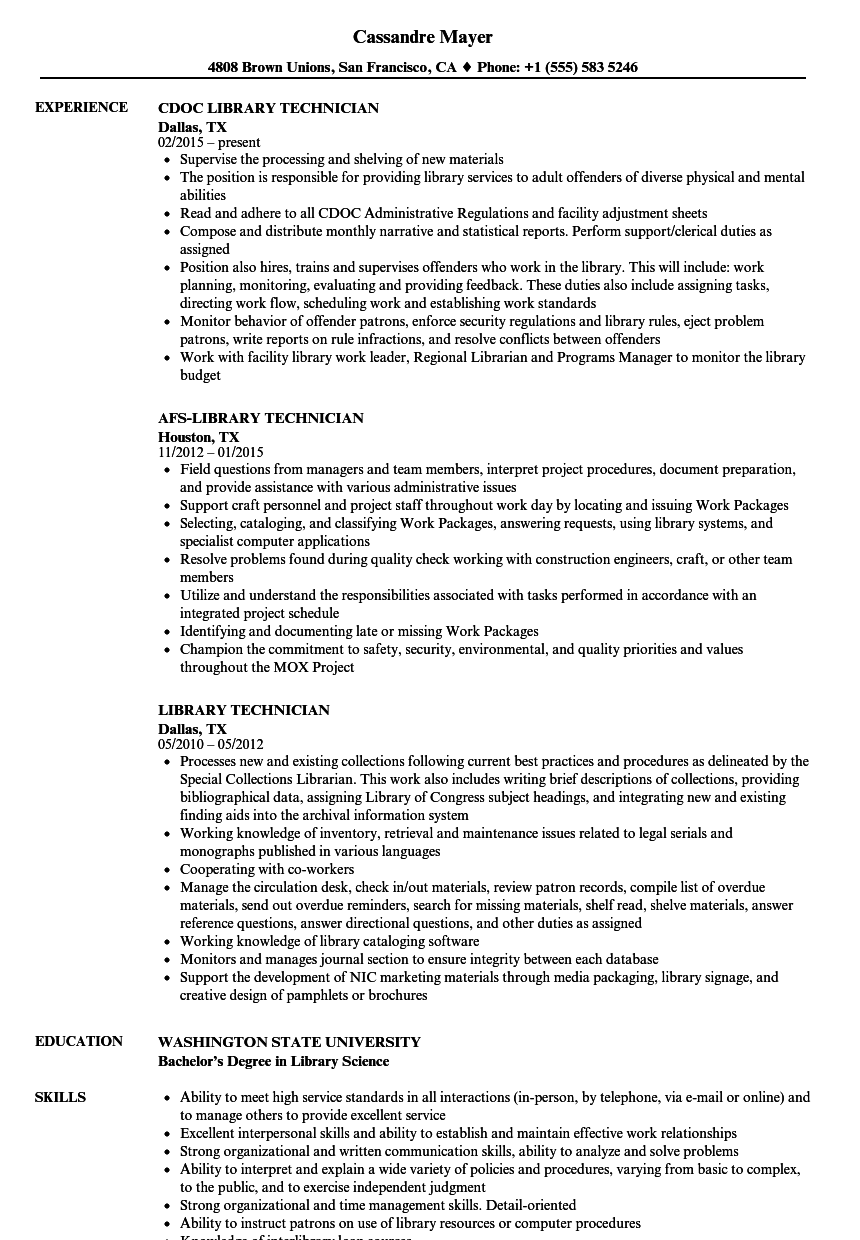 download library technician resume sample as image file