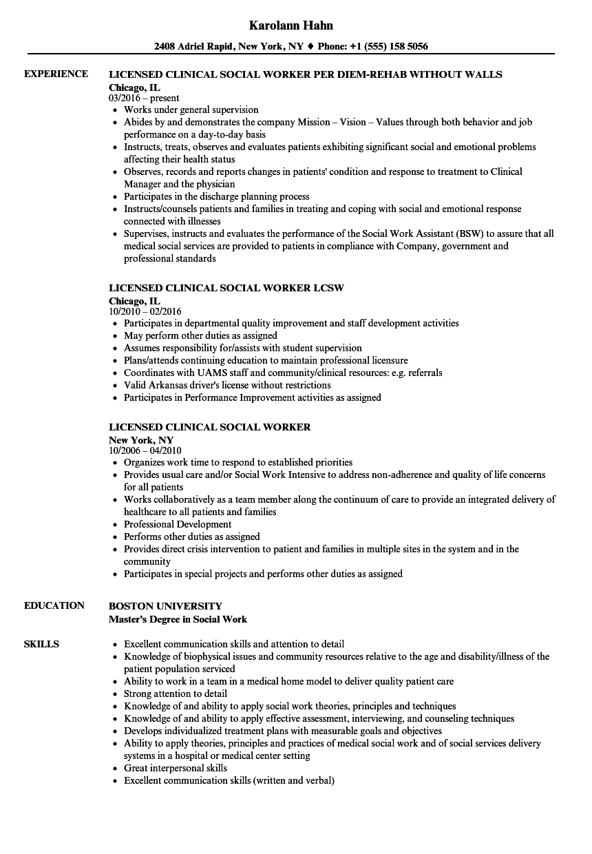 licensed clinical social worker resume samples