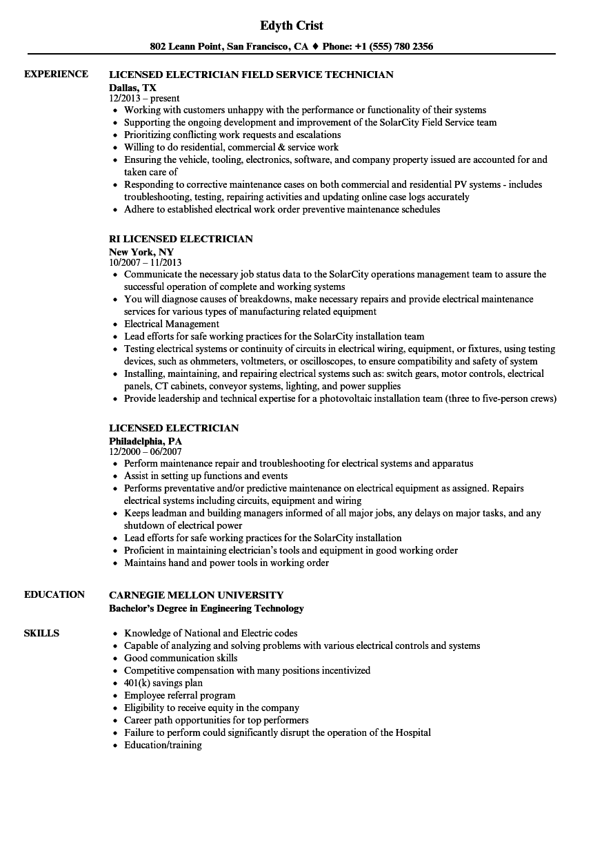Licensed Electrician Resume Samples | Velvet Jobs