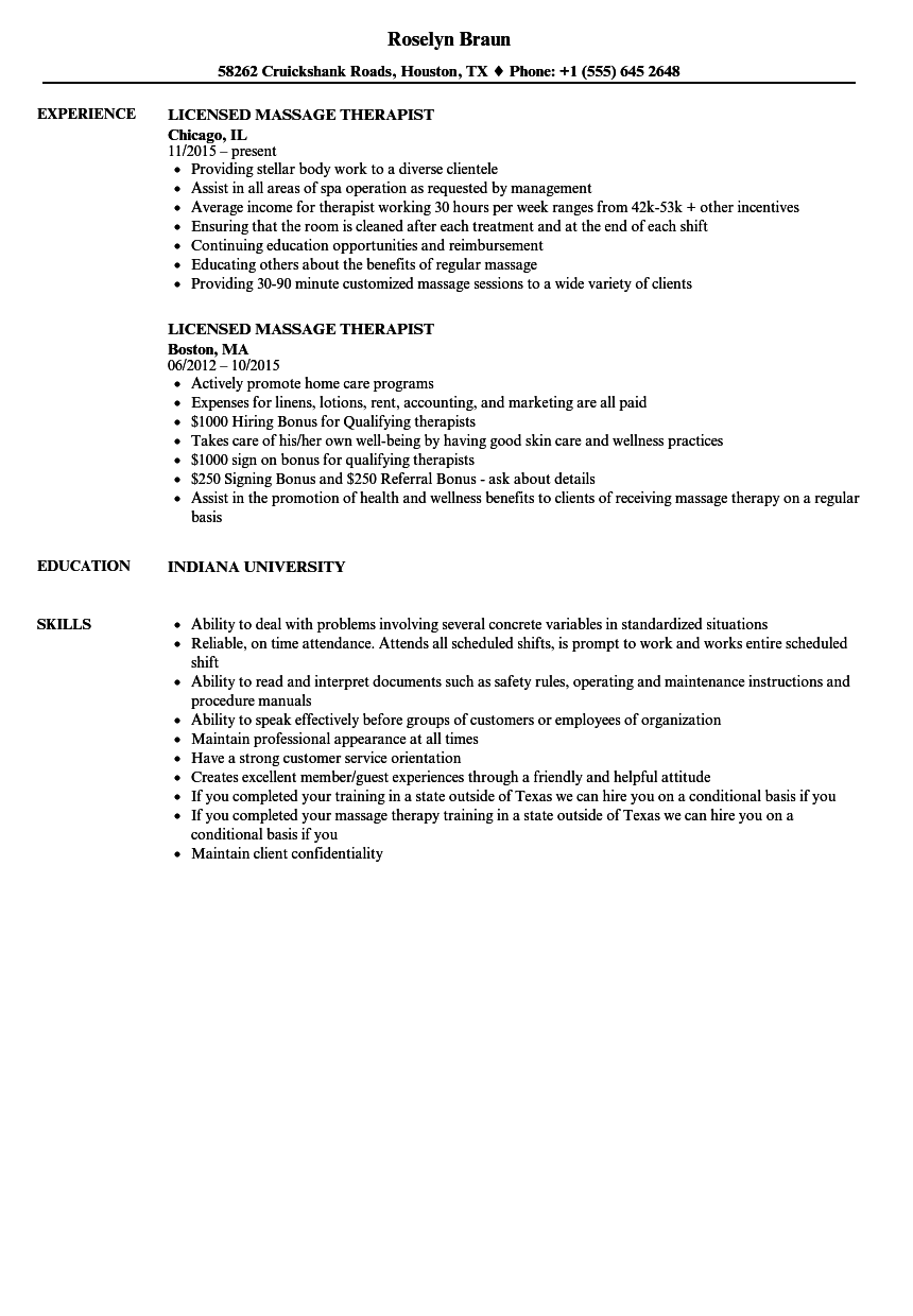 Download Licensed Massage Therapist Resume Sample As Image File