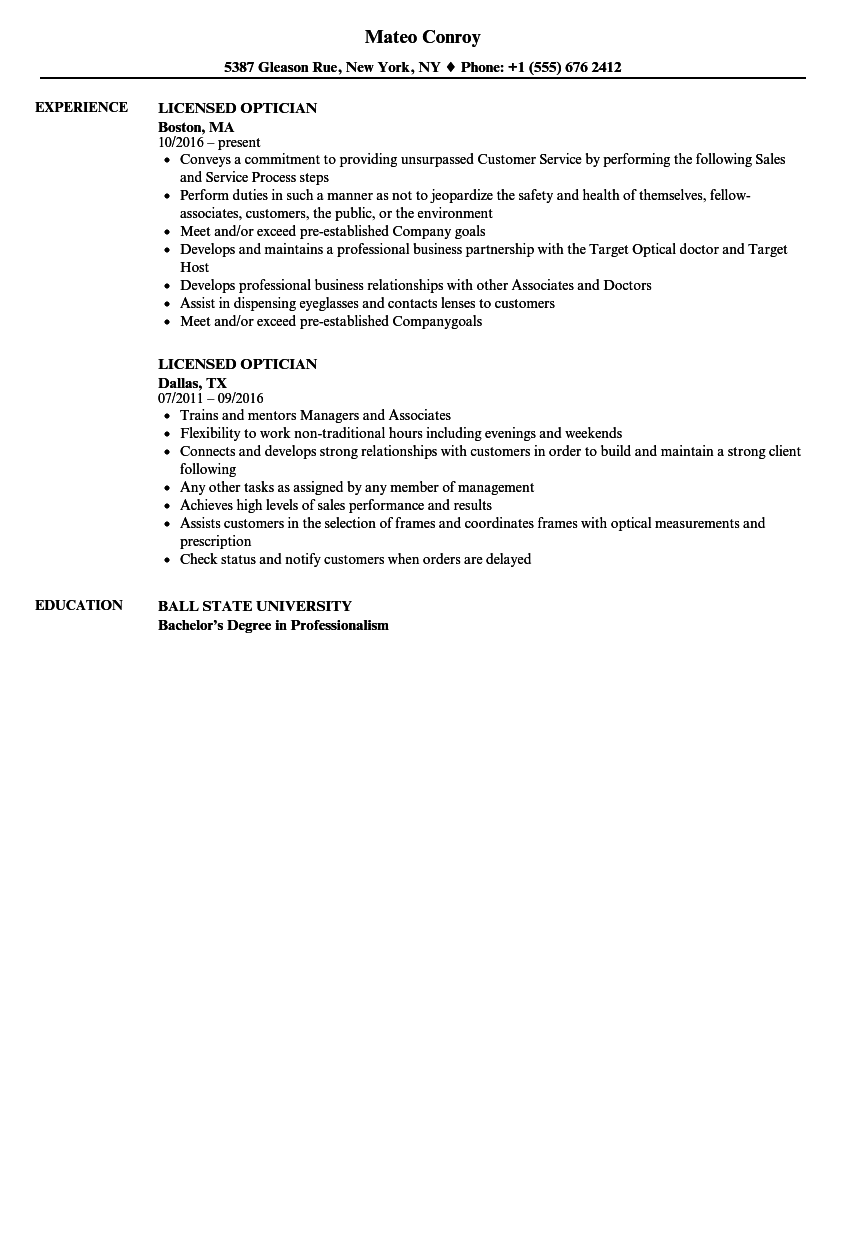 Licensed Optician Resume Samples