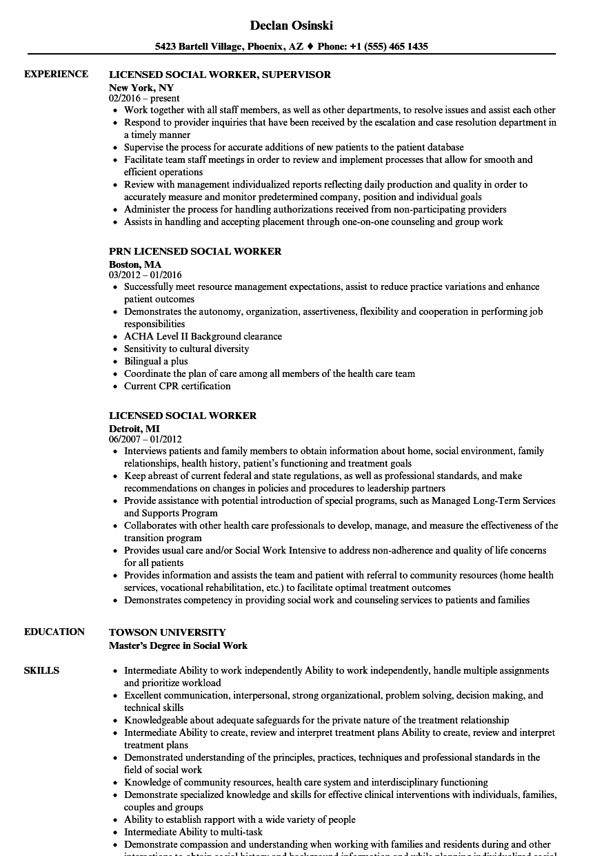 licensed social worker resume samples
