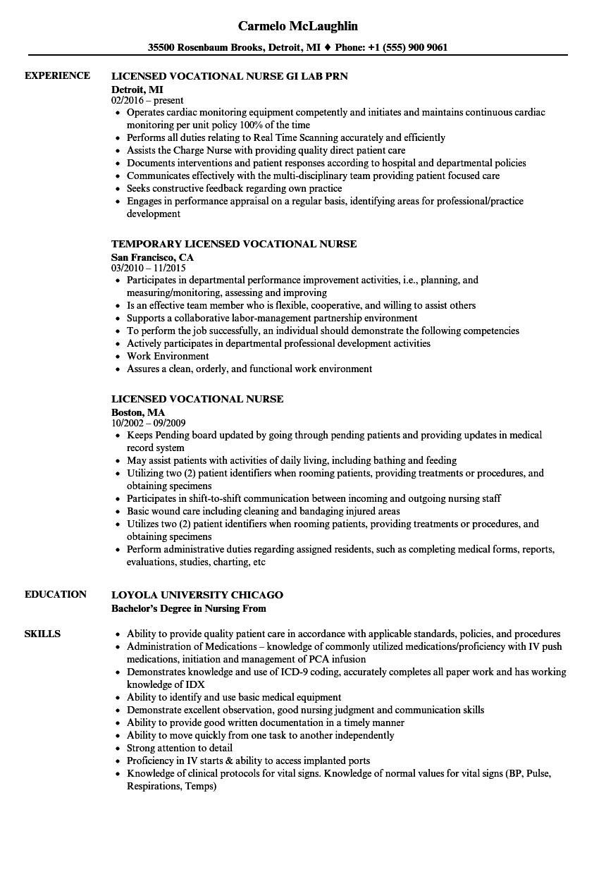 Licensed Vocational Nurse Resume Samples | Velvet Jobs
