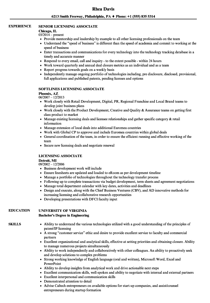 Licensing Associate Resume Samples Velvet Jobs