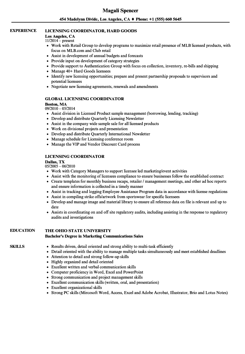 licensing coordinator resume samples