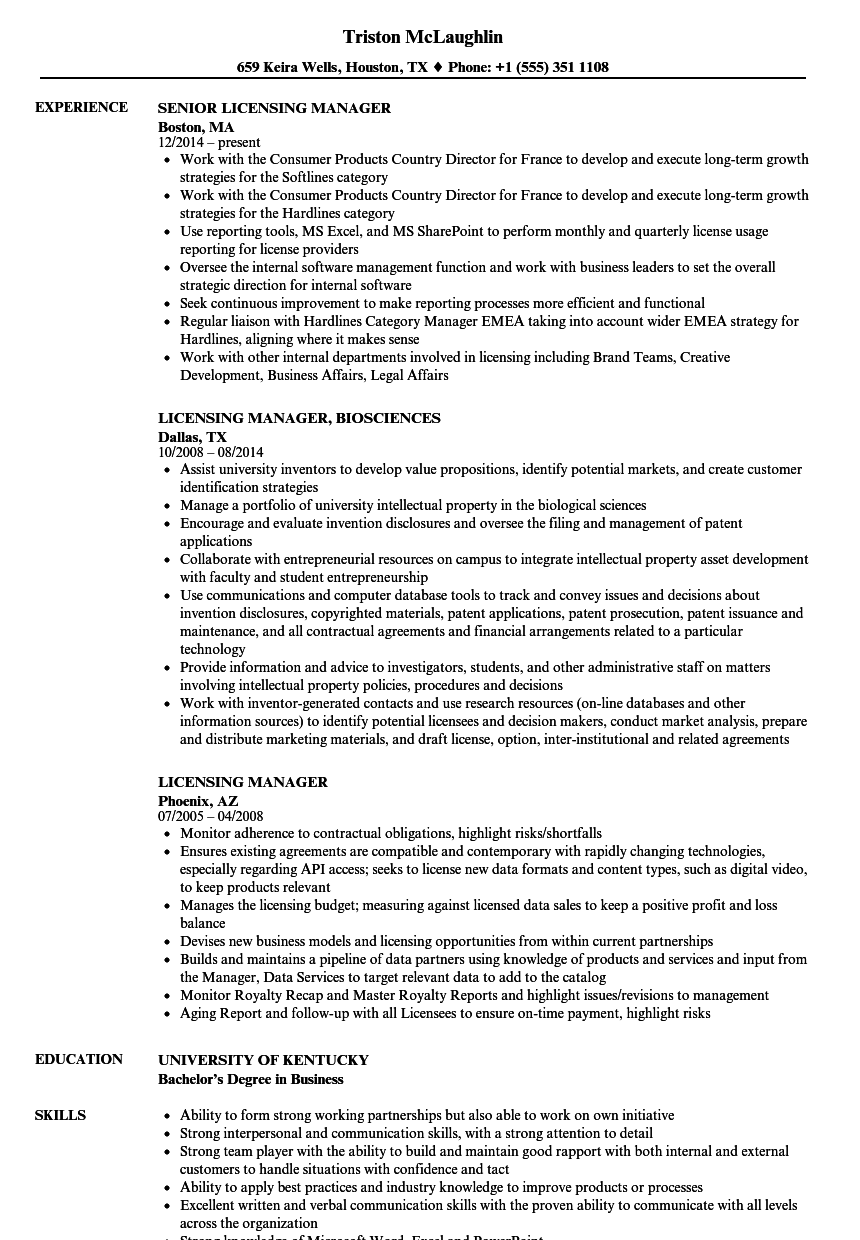 download licensing manager resume sample as image file - Licensing Specialist Sample Resume
