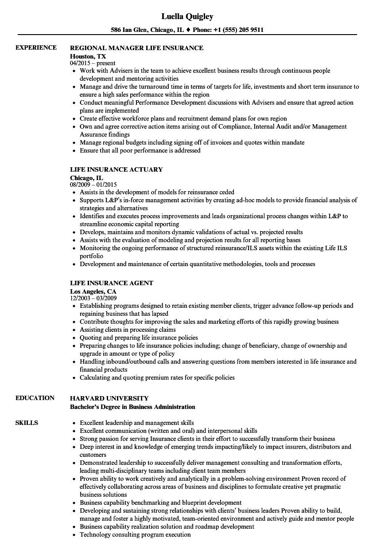 Life Insurance Resume Samples Velvet Jobs