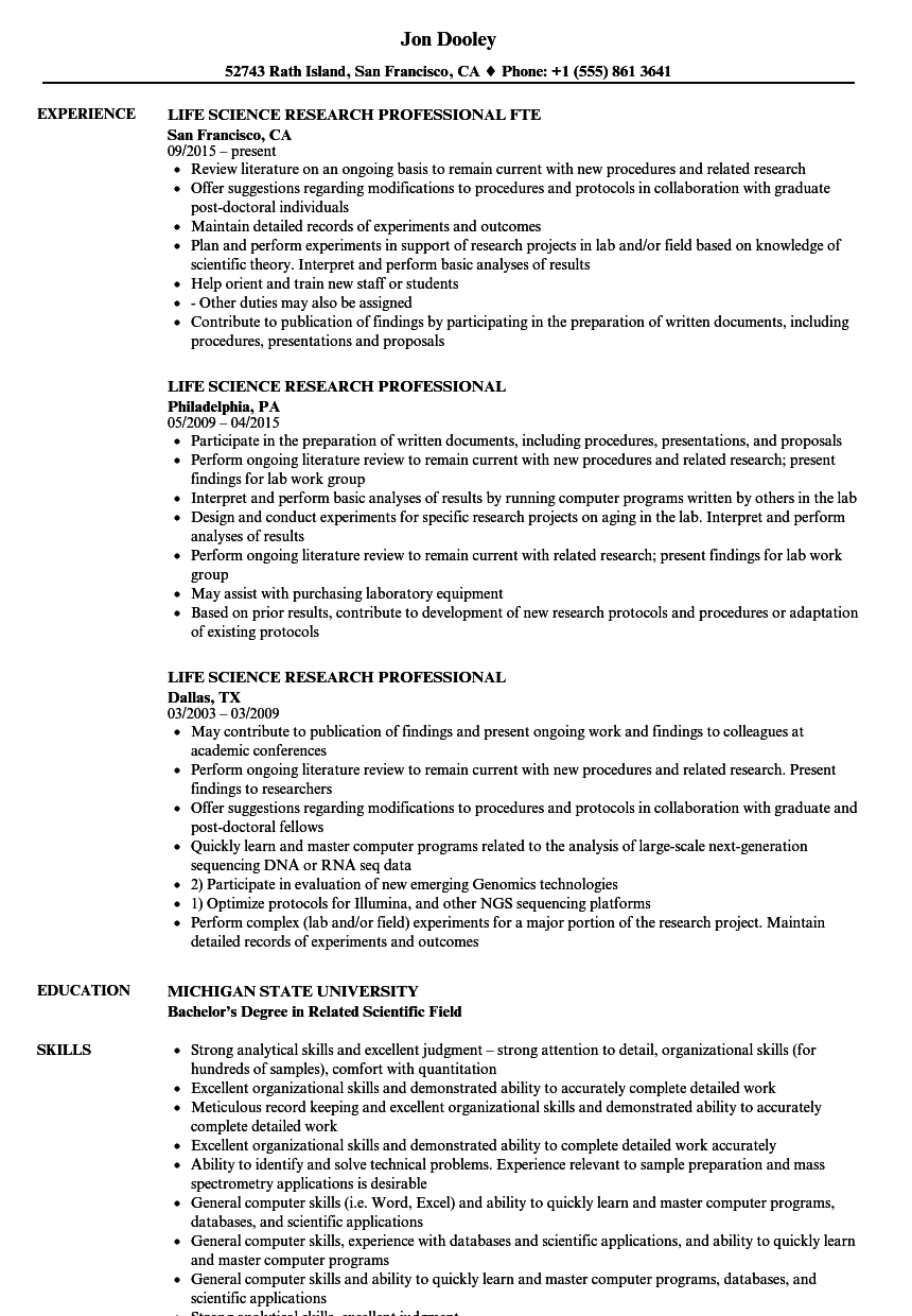life science research professional resume samples