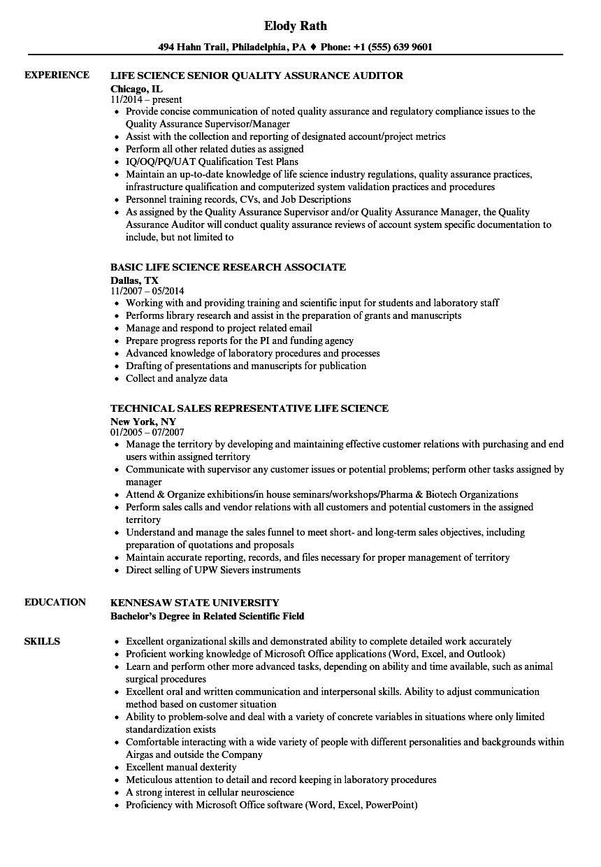 Life Science Resume Samples Velvet Jobs - Resume For Science Research
