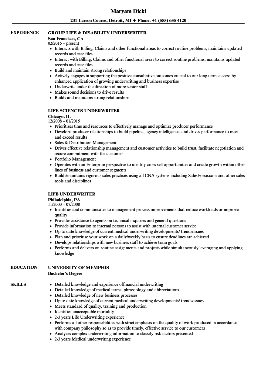 Life Underwriter Resume Samples Velvet Jobs