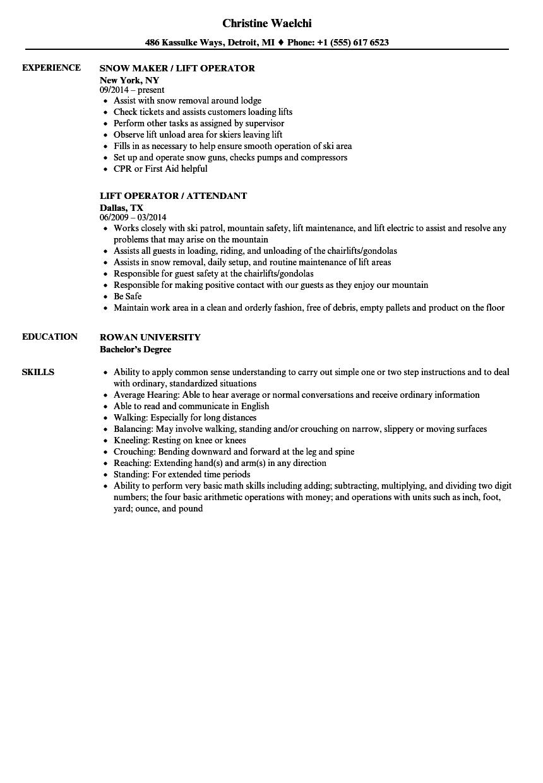 lift operator resume samples