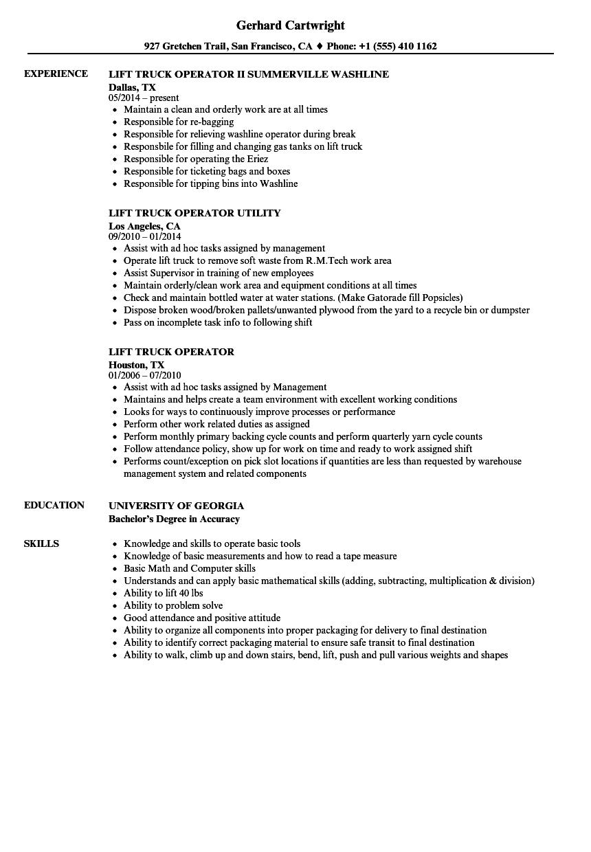 lift truck operator resume samples