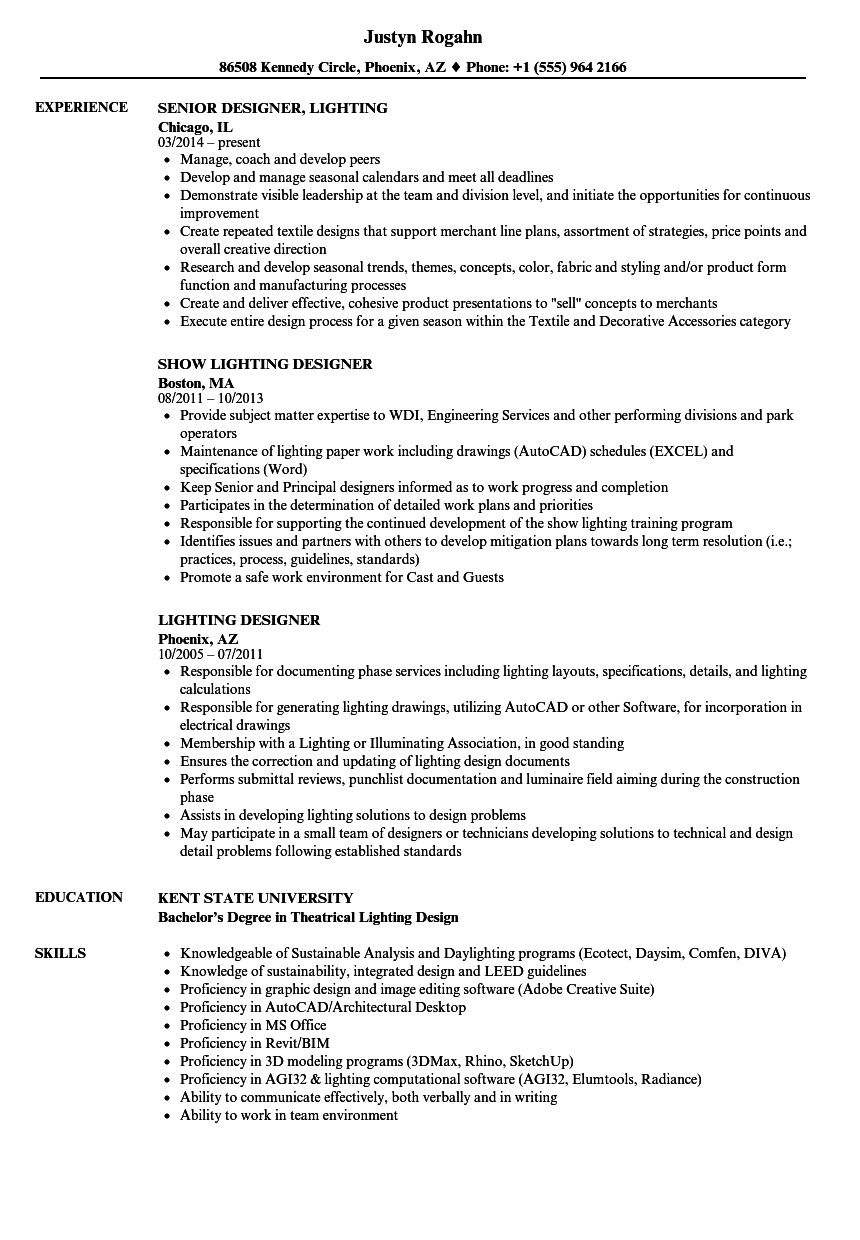 lighting designer resume